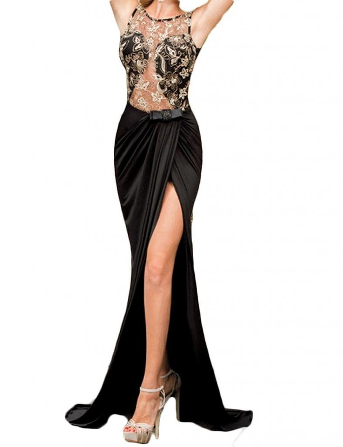 JINSEY + Embroidered Mesh Wrap Cocktail Club Formal Party Evening Long Maxi Dress