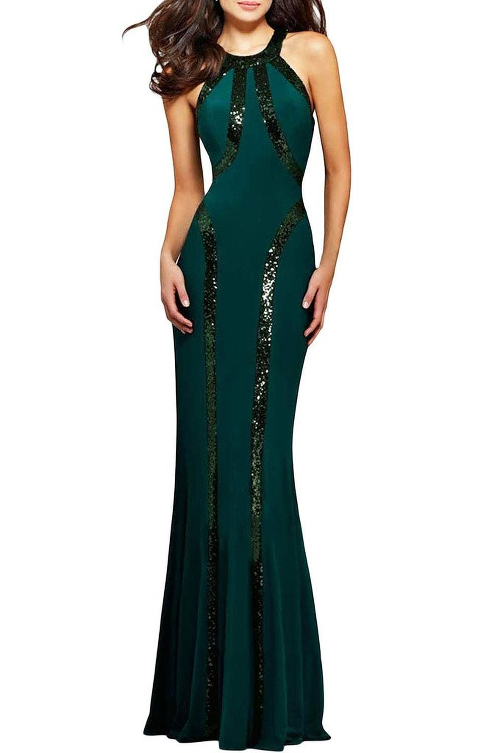 JINSEY + Sequin Trim Black Jersey Gown Maxi Dress Green