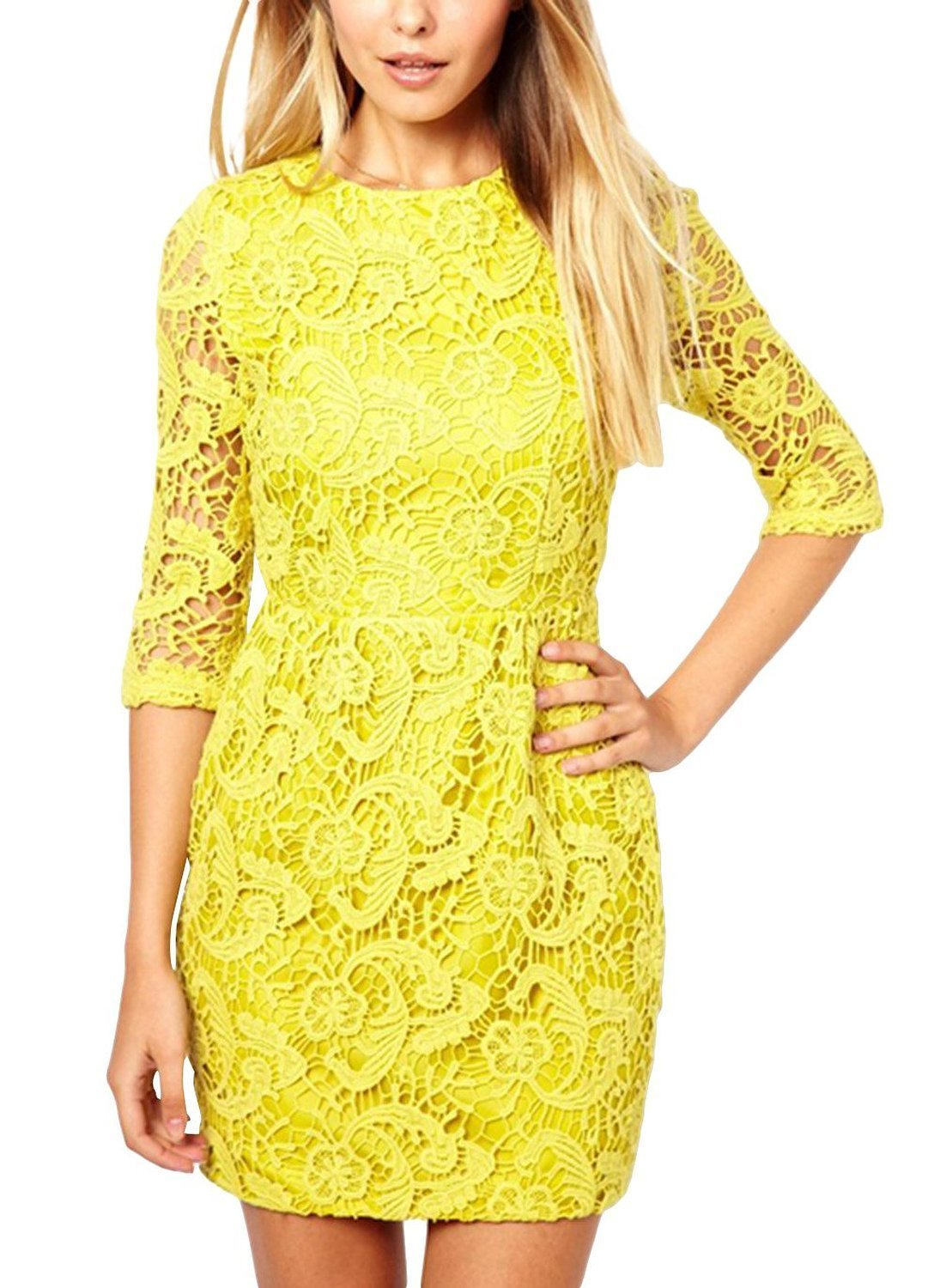 JINSEY + Lace Hollow Out Sexy Open Back Cocktail Party Short Dress Yellow L